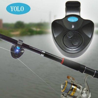YOLO Electronic LED Light Fish Bite Alarm Bell Finder Sound Alert Clip On Fishing Rod